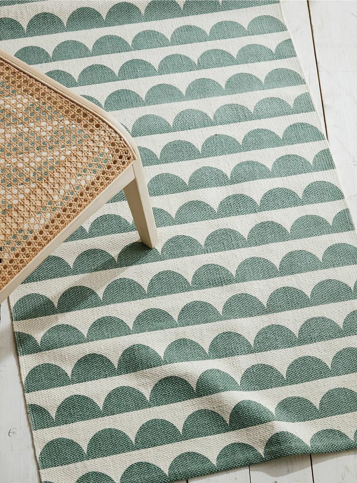 Grönmönstrad gångmatta i bomull, från Ellos