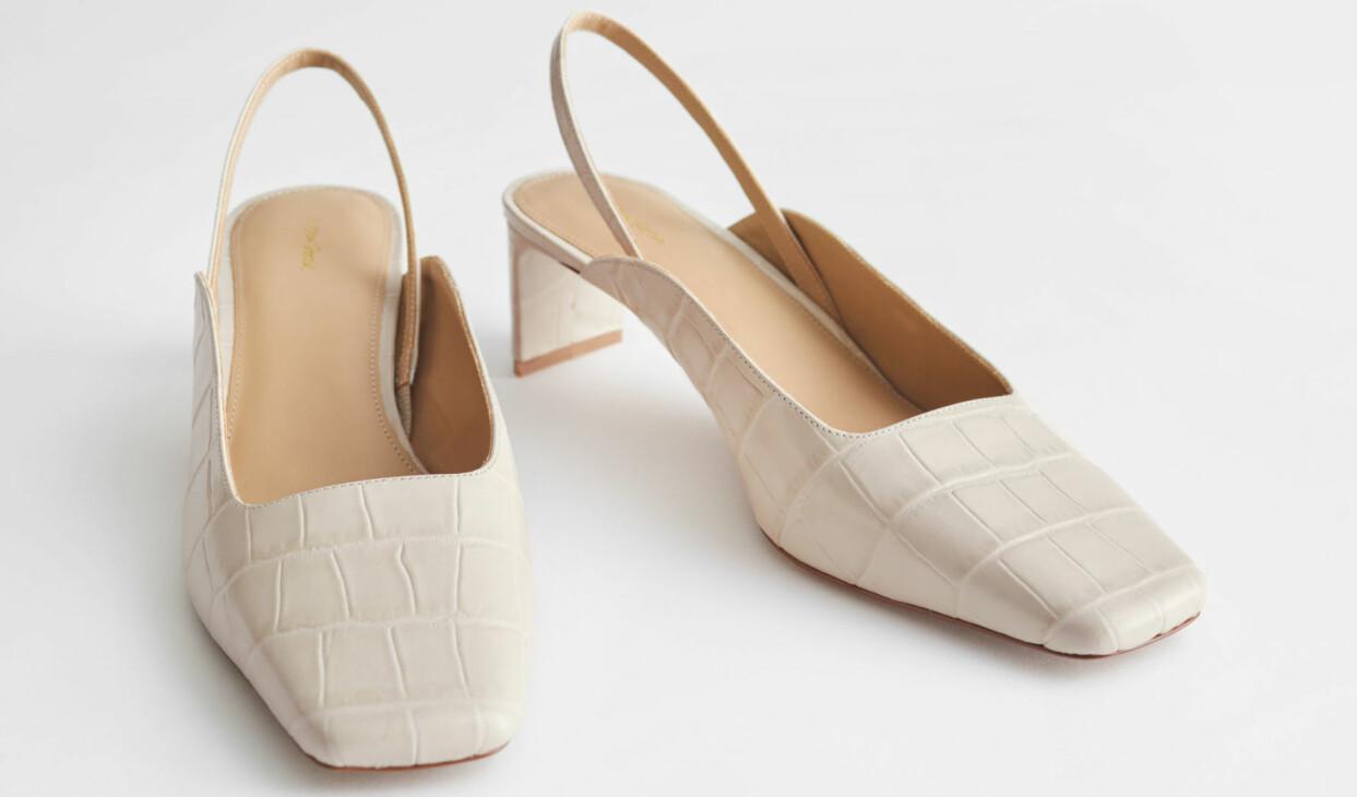 Krokopräglade sling back-skor med platt klack, från & Other Stories