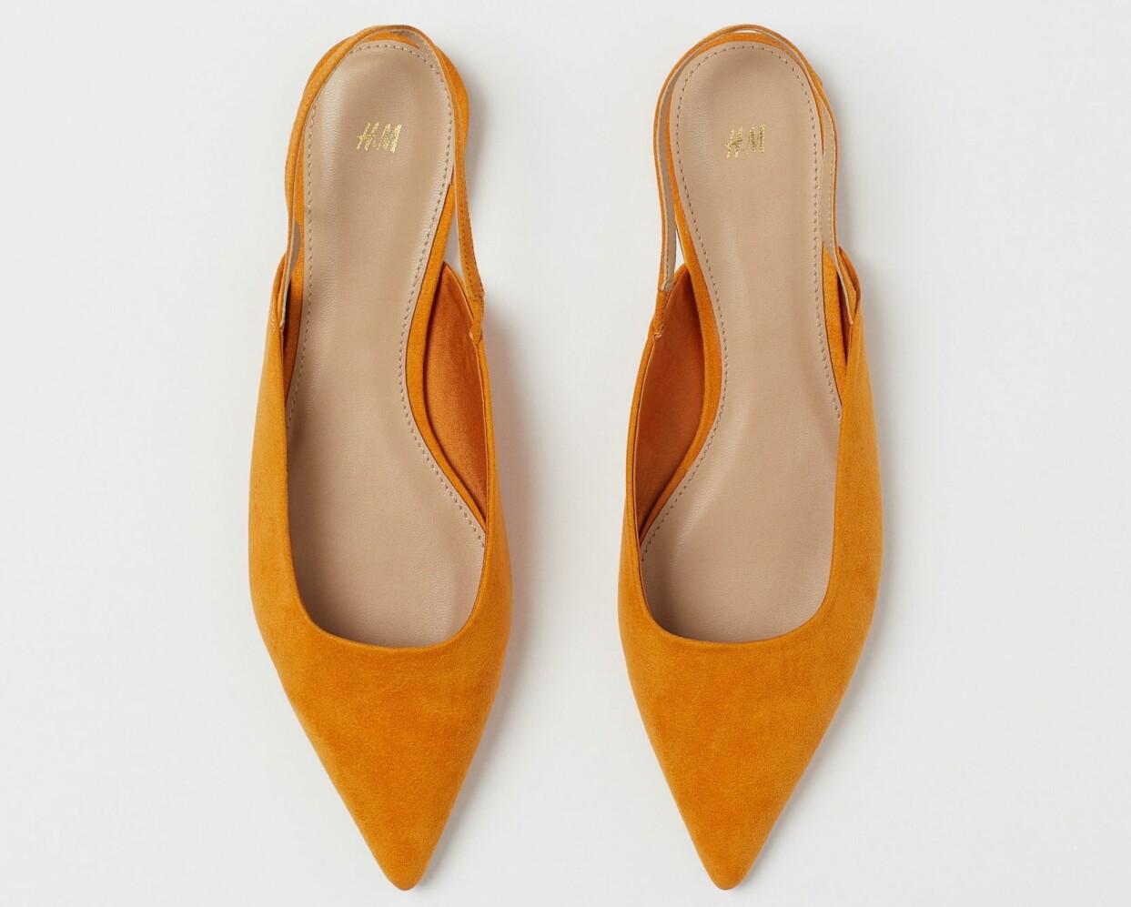 Orange sling back i mocka från H&M