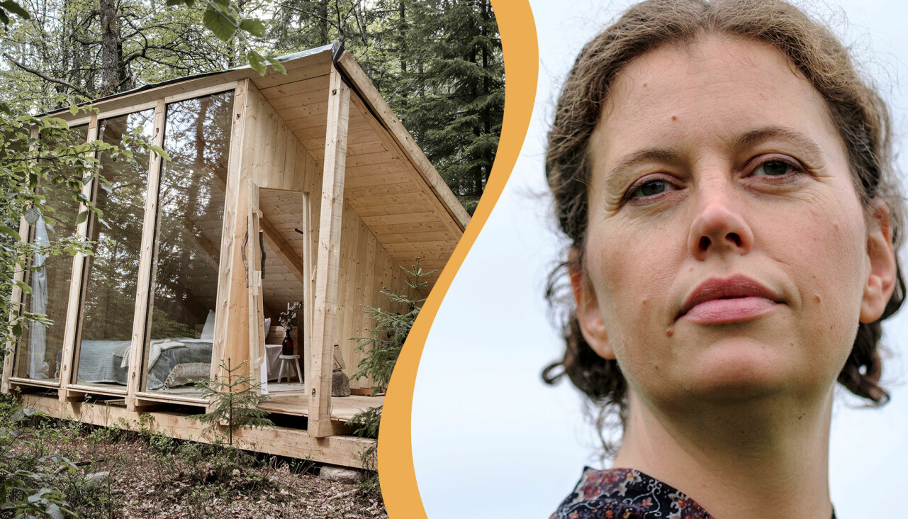 Kollage av Mette som provade att leva i skogen och en stuga som saknar toalett och varmvatten.