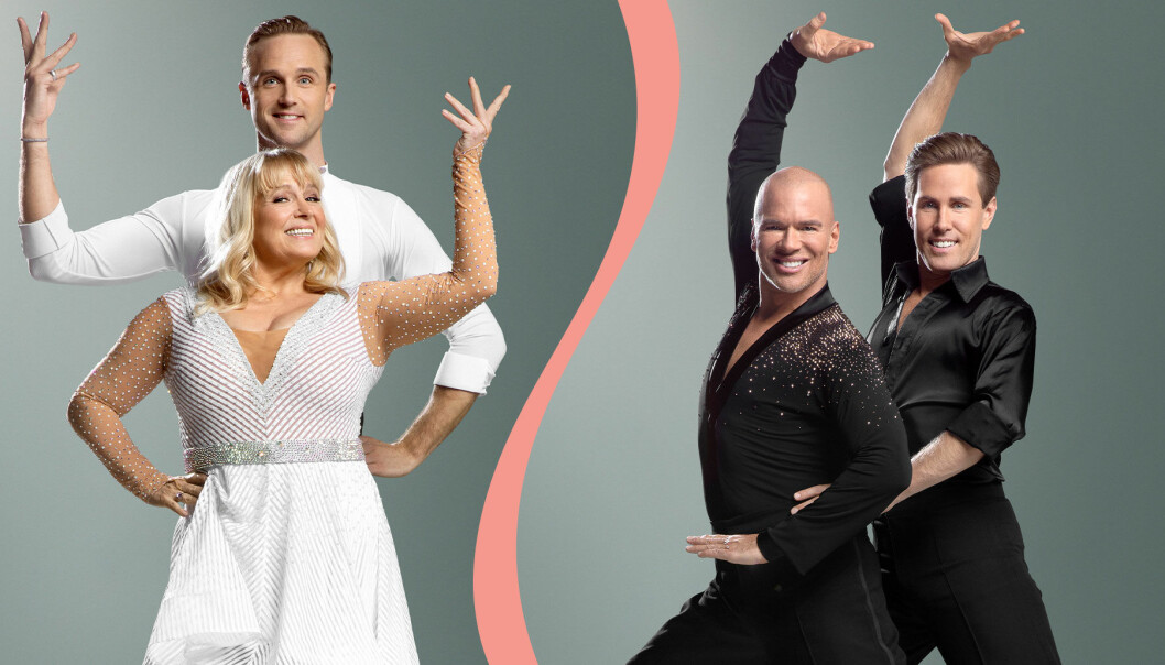 Sussie Eriksson med Kalle Sterner och Andreas Lundstedt med Tobias Bader inför premiären av Let's dance 2020 i TV4.
