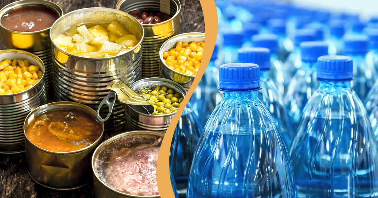 Kollage av konserver och vattenflaskor – som båda är bra att ha hemma vid en kris.