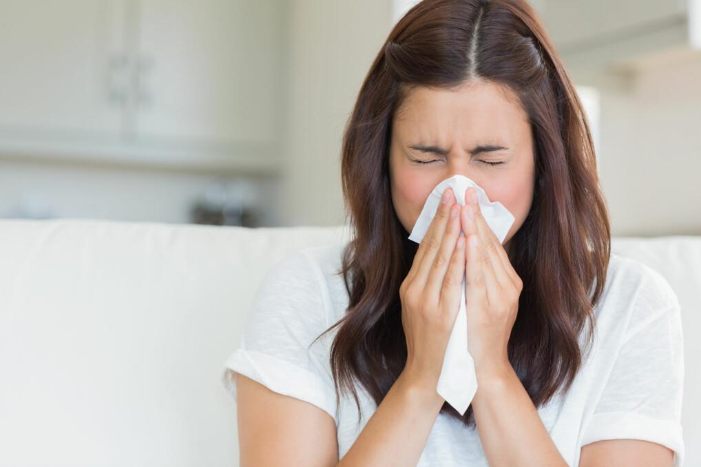 Pollenallergisk kvinna snyter sig i en näsduk.