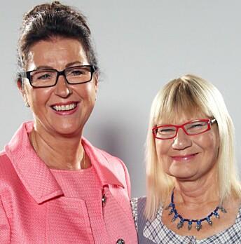 Marlene Eriksson tillsammans med kollegan Marie-Louise Danielsson-Tham inför tv-programmet Sveriges städmästare 2014.