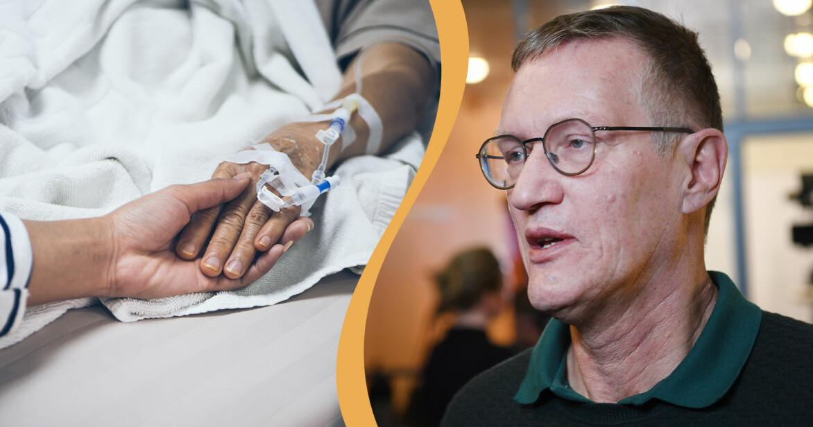 Kollage av Anders Tegnell och en äldre persons hand i sjuksäng.