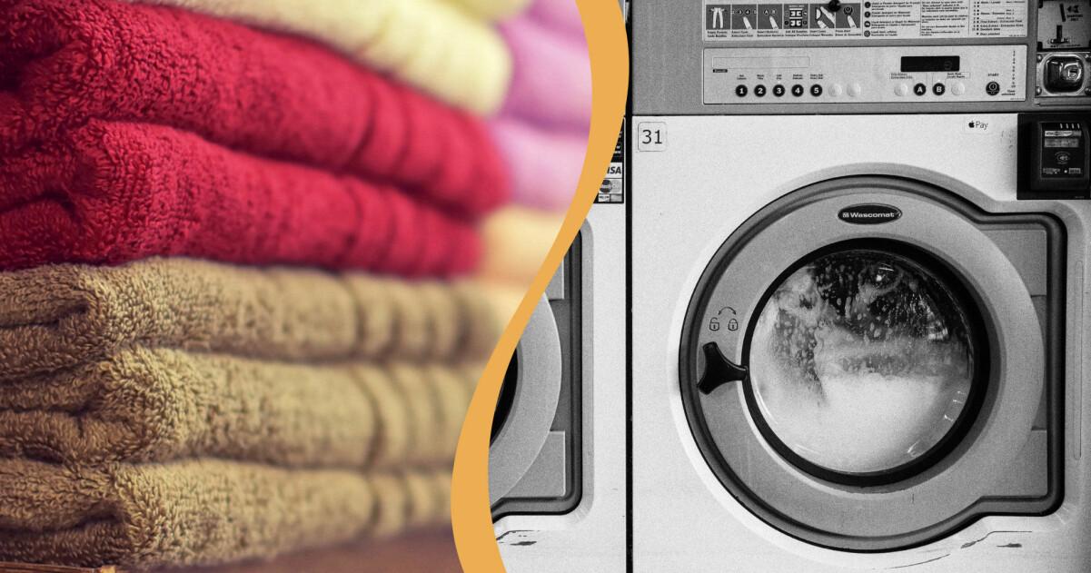 Handdukar som har tvättats ordentligt i en tvättmaskin på 60 grader.