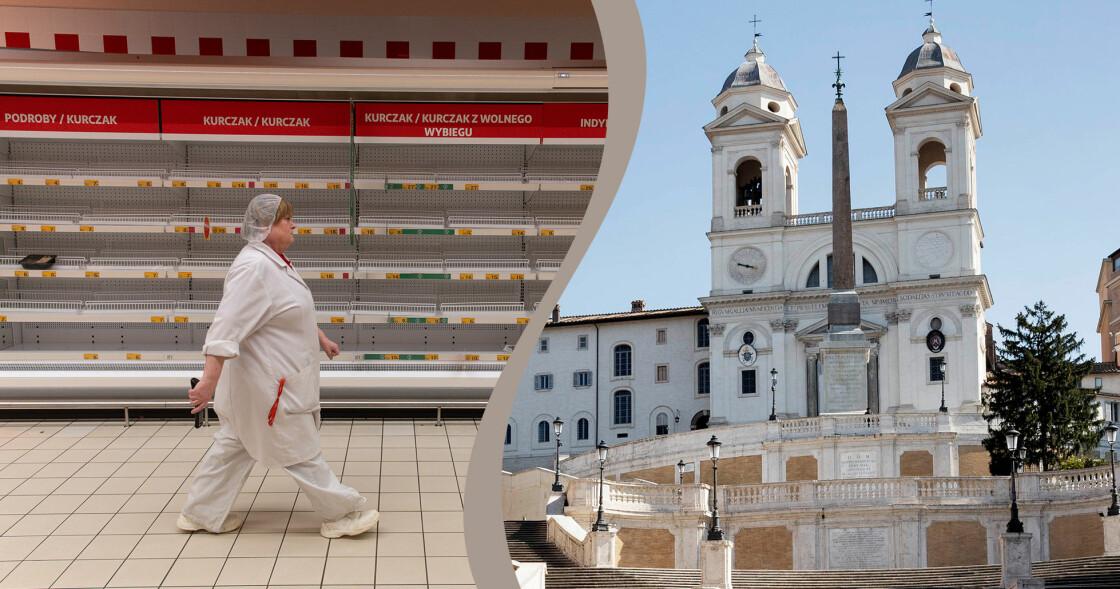 Kollage av tom livsmedelsbutik i Gdansk Polen och en öde spanska trappan i Rom.