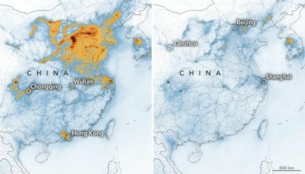 NASA:s satellitbilder över Kina visar hur mycket luftföroreningarna minskat från januari 2020 till februari 2020 på grund av coronaviruset.