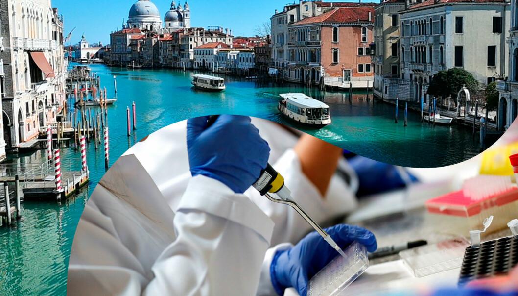 Delad bild: Till vänster, rent vatten i Venedigs kanaler. Till höger, forskare har testat vaccin mot coronavirus på människor
