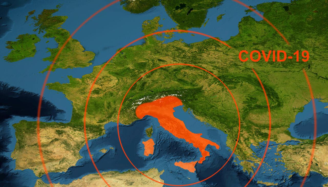 Ett rödmarkerat Italien på en karta över Europa.