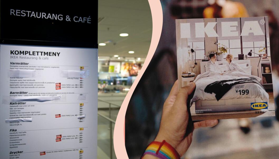 Delad bild. Till höger: Ikeas meny, till vänster: Ikea-katalogen.