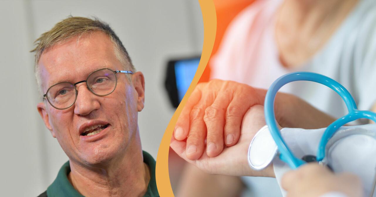 Kollage av Anders Tegnell och en äldre kvinnas hand i sjukhusmiljö.