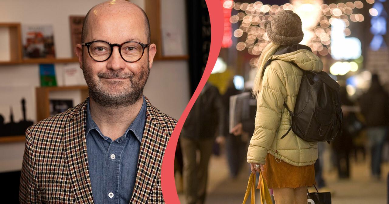 Kollade av anonym hemlösa kvinna i stadsmiljö och Jonas Wihlstrand, socialchef på Stockholms Stadsmission.