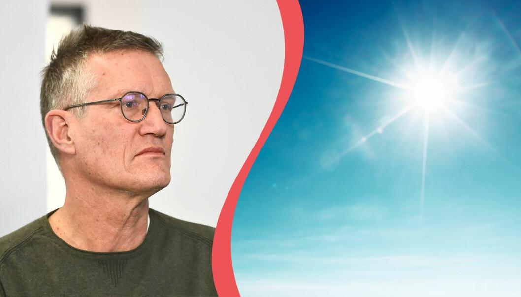 Delad bild. Till vänster: Anders Tegnell, till höger: Strålande sol i maj.