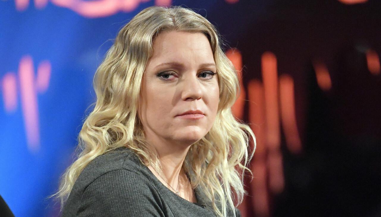 Porträtt av Carina Bergfeldt under inspelningen av Skavlan.