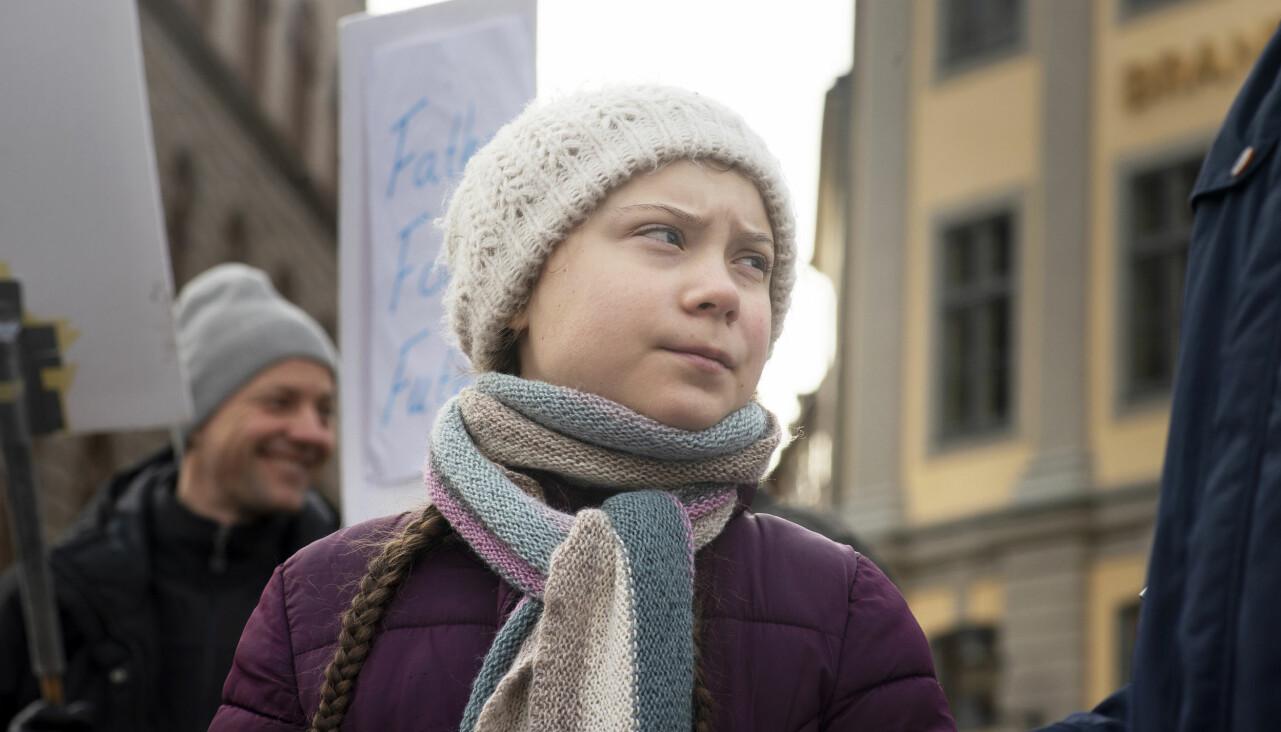 Greta Thunberg på en klimatprotest.