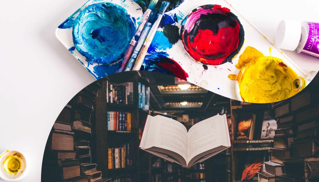 En delad bild. Över: Måleriprylar. Under: En bok i ett bibliotek.