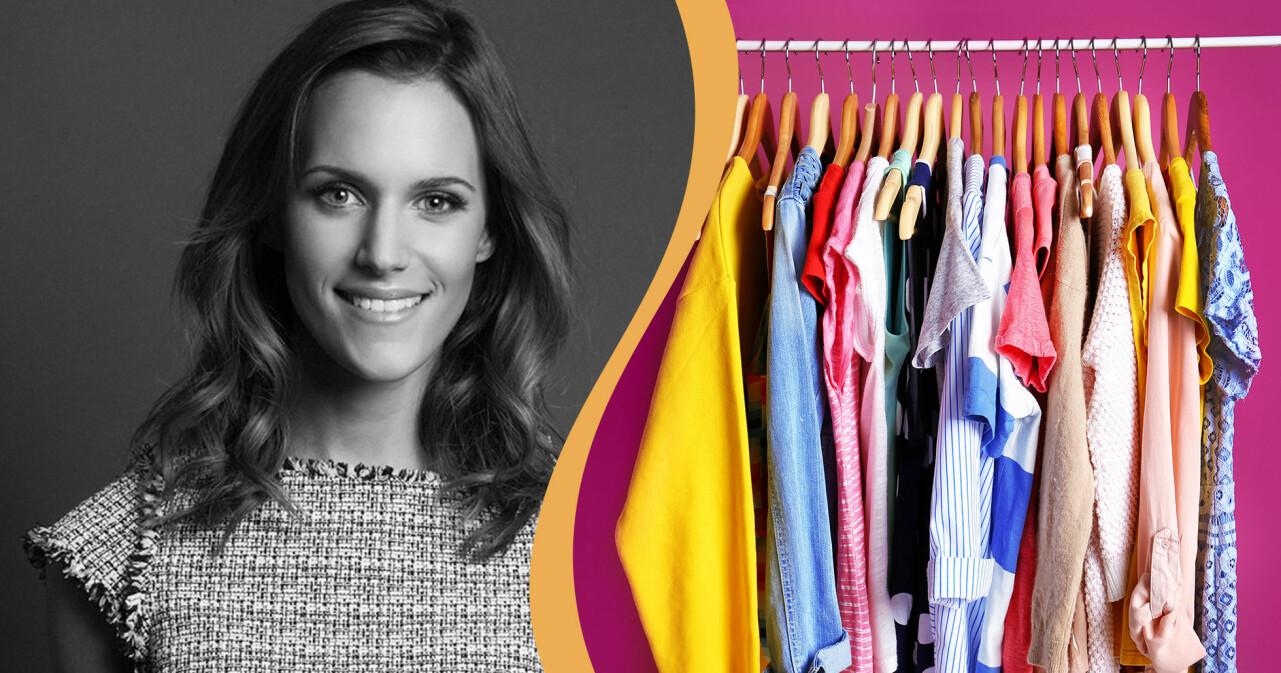 Kollage av kläder på stång och Lin Kowalska som grundat appen Popswap.