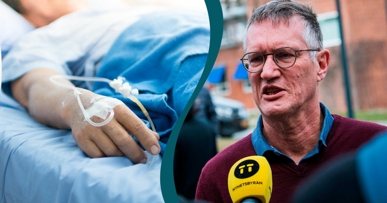 Kollage av Anders Tegnell och en anonym patient i en sjuksäng.