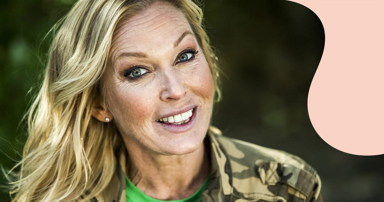 Linda Lindorff under en pressträff inför Bonde söker fru 2018.