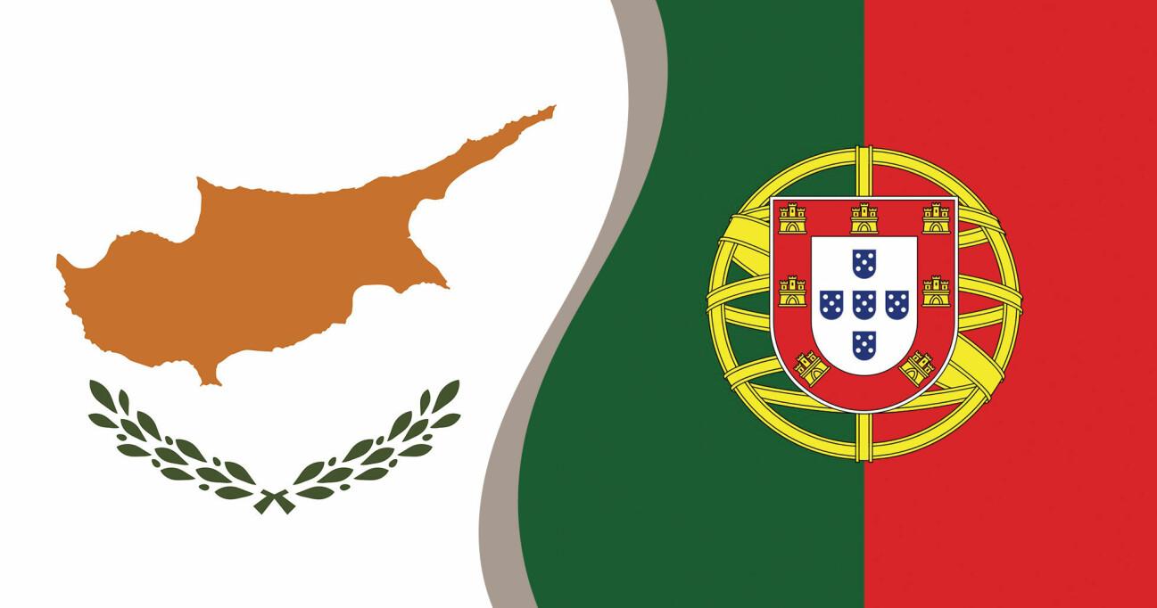Cyperns flagga i kombination med Portugals flagga – båda är med i vårt quiz om flaggor.
