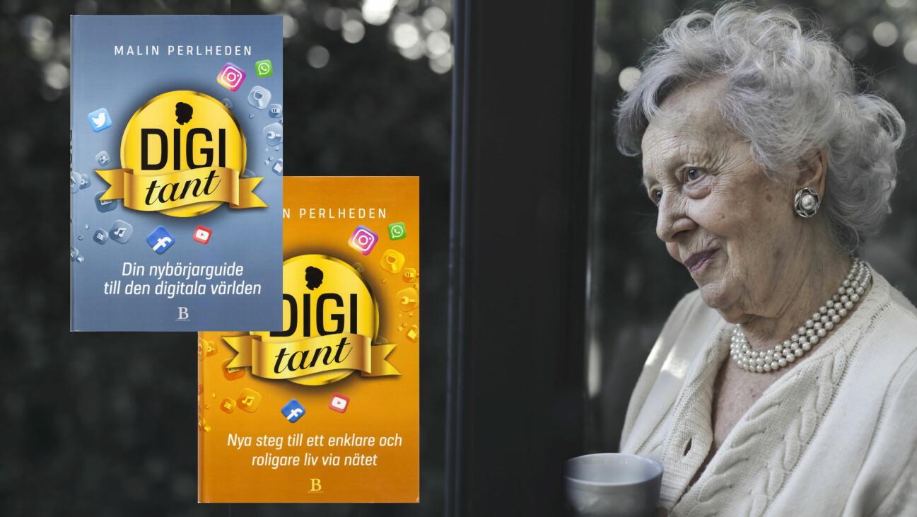 Kollage av äldre ensam kvinna med en kaffekopp i handen och omslagen till Malin Perlhedens Digitant-böcker.