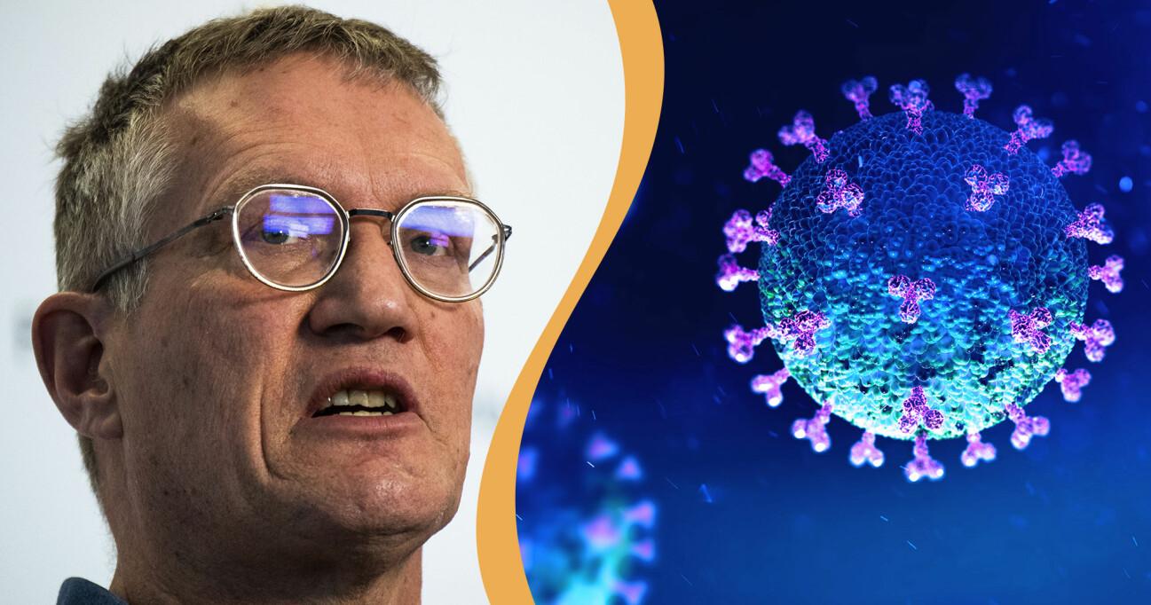 Kollage av Anders Tegnell och ett coronavirus.