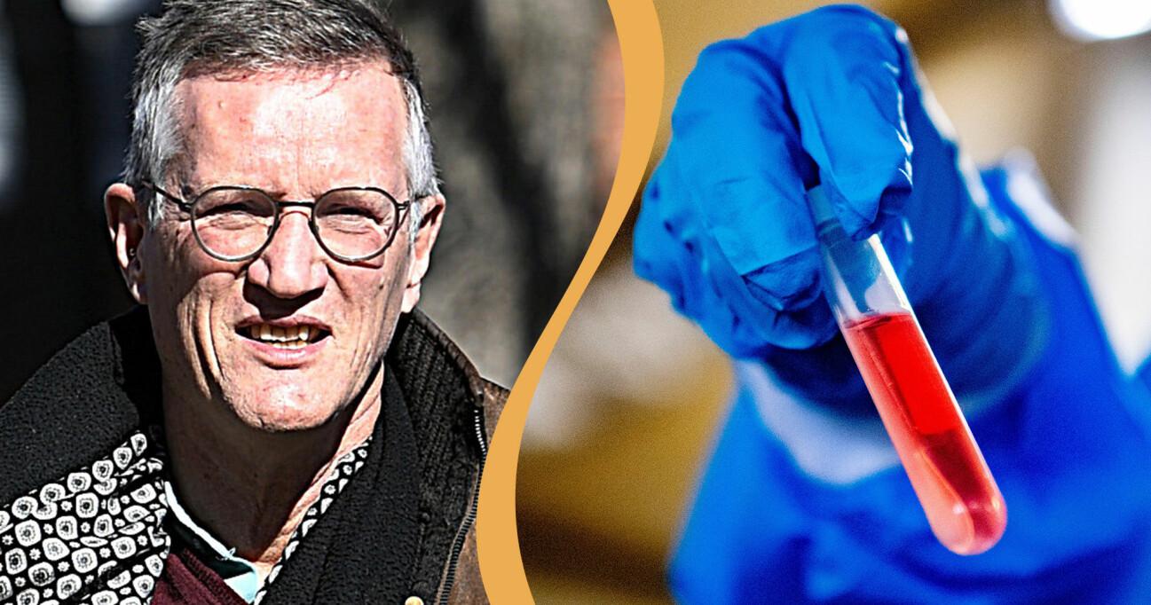 Kollage av Anders Tegnell och handsklädd hand som håller ett blodprov.