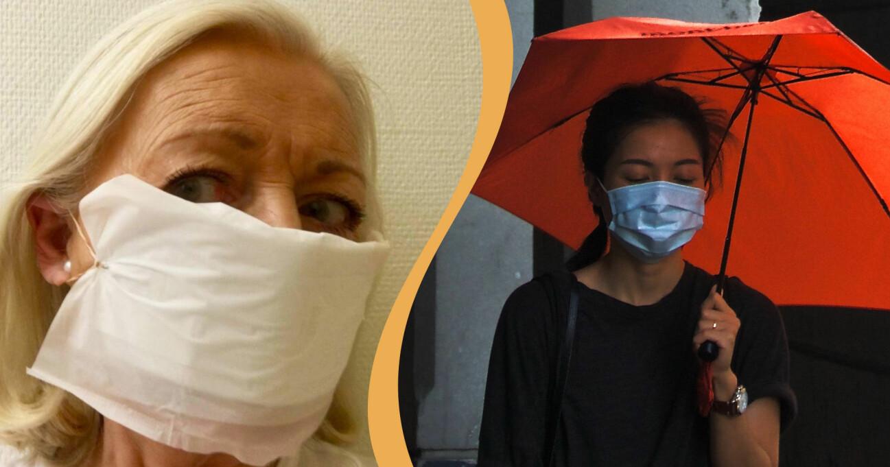 Gunilla Wall har hittat ett sätt att göra egna munskydd.