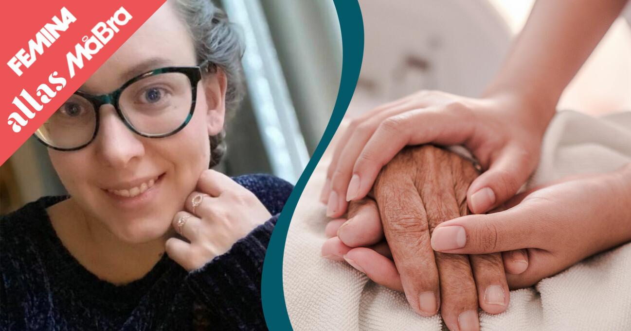 Kollage av sjuksköterskan Cornelia Flood och en kvinnas hand på en äldre patients händer.