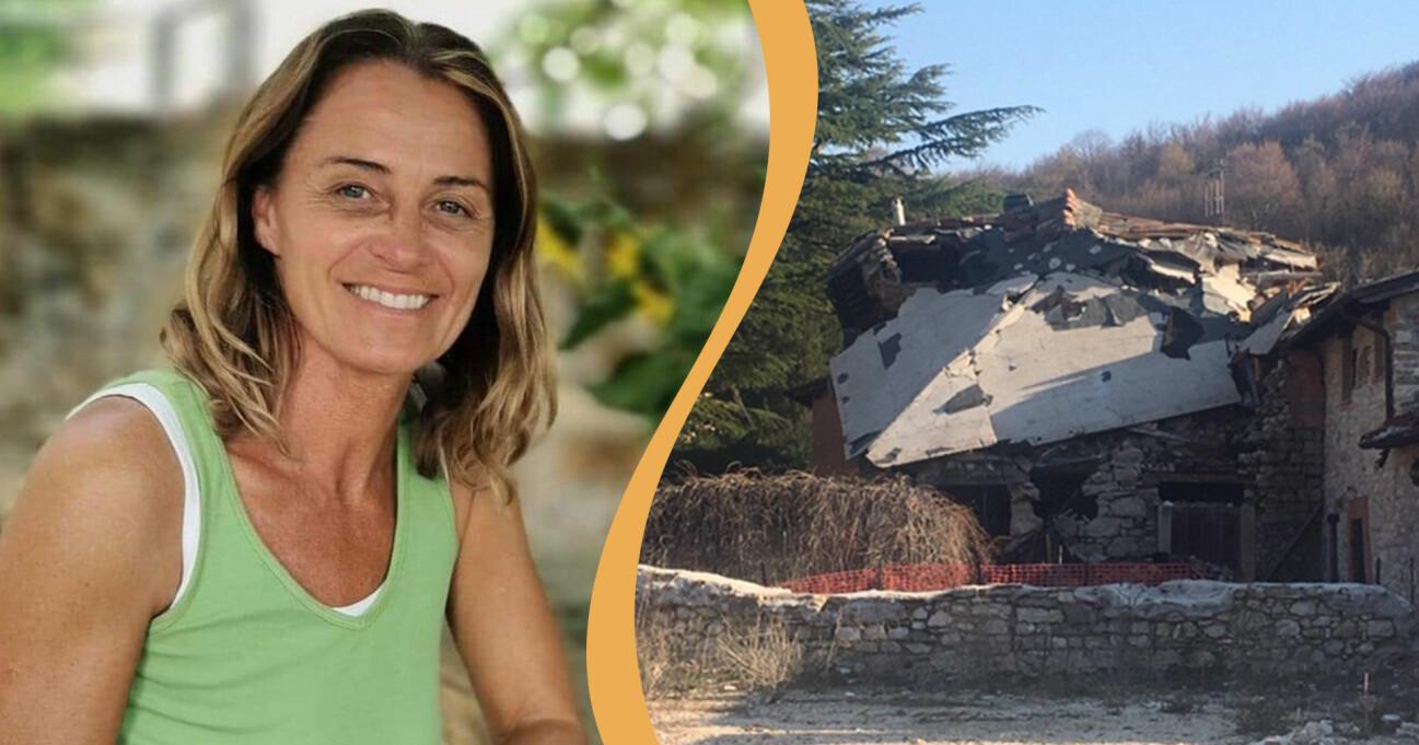 Anna Sadhana Pilotti i grönt linne kombinerat med en bild på hur ett hus i närheten såg ut efter jordbävningen.