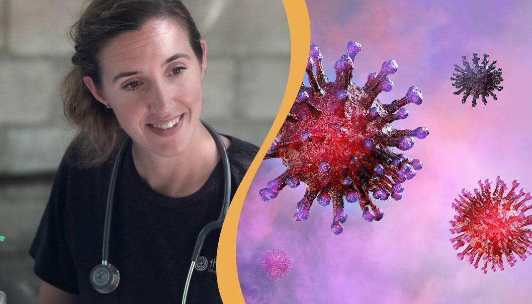 En delad bild. Kvinnlig läkare till vänster och coronavirus under mikroskop till höger.