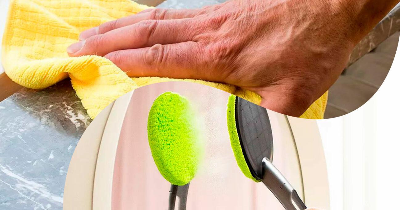 Delad bild. Ovan: En hand som städar med en mikrofiberduk. Nedan: En spegel rengörs med smart spegel- och glasrengörare.