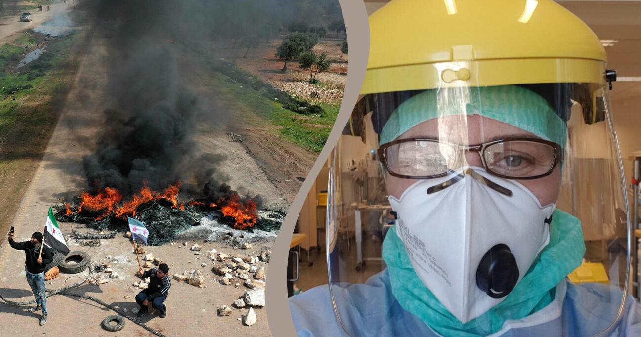 Kollage av Ammera som arbetar som läkare och brand i Syrien.