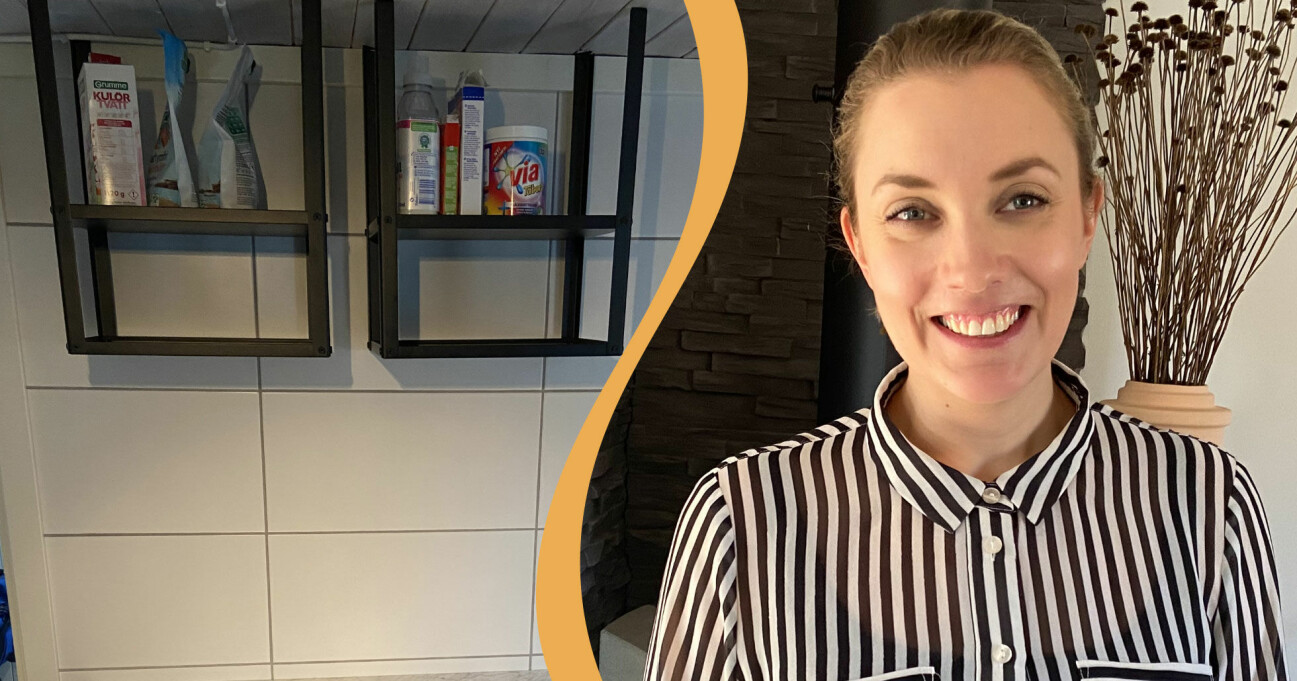 Stina Restin Fahlgren hittade på en smart lösning med ikeahyllor.