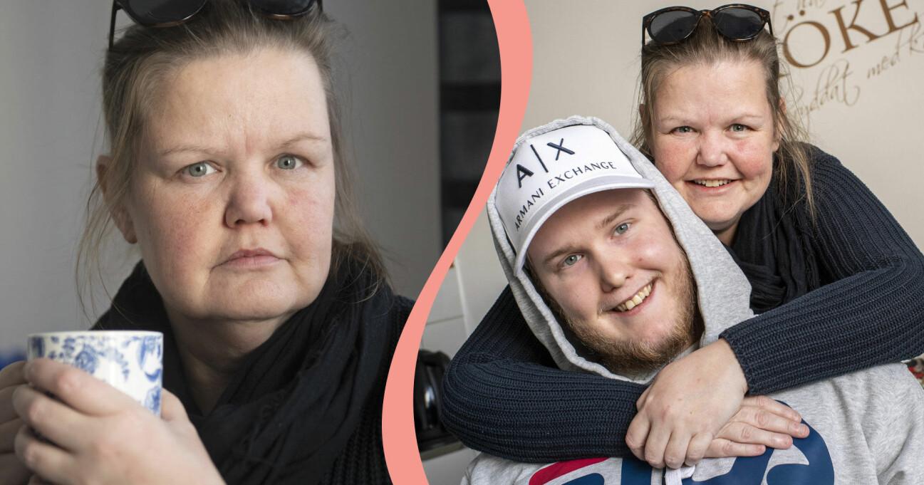Vicktoria Torell med sonen Adam hemma i Västervik.