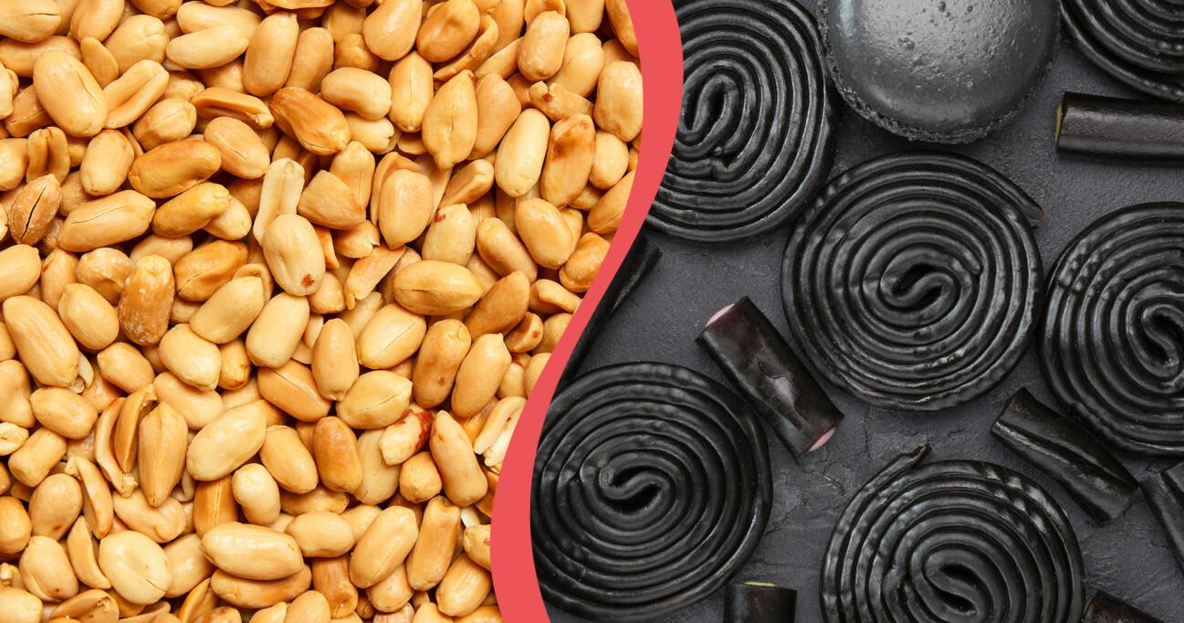 Kollage av jordnötter och lakrits – mat som enligt en ny studie kan förebygga åldrande.
