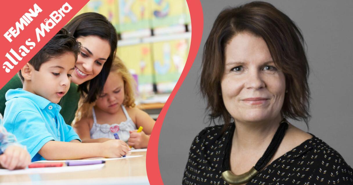 Förskolläraren och en genrebild på barn i förskoleålder.