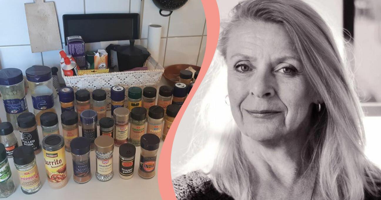 Kollage av Birgitta som uppfann ett coronaspel och en köksbänk med kryddburkar.