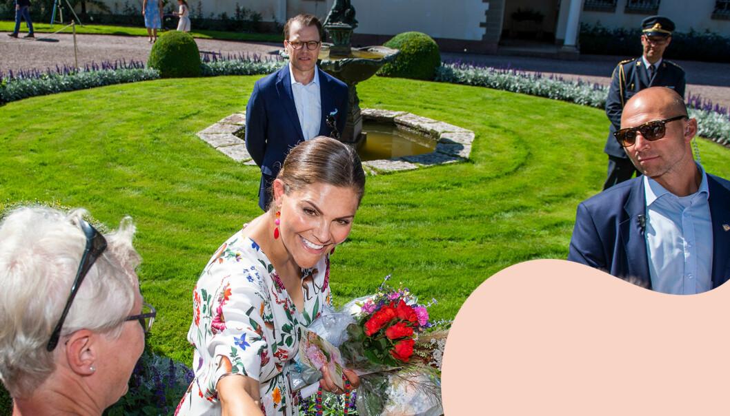 Kronprinsessan Victoria och prins Daniel möter allmänheten vid Rundelen på Sollidens slott.
