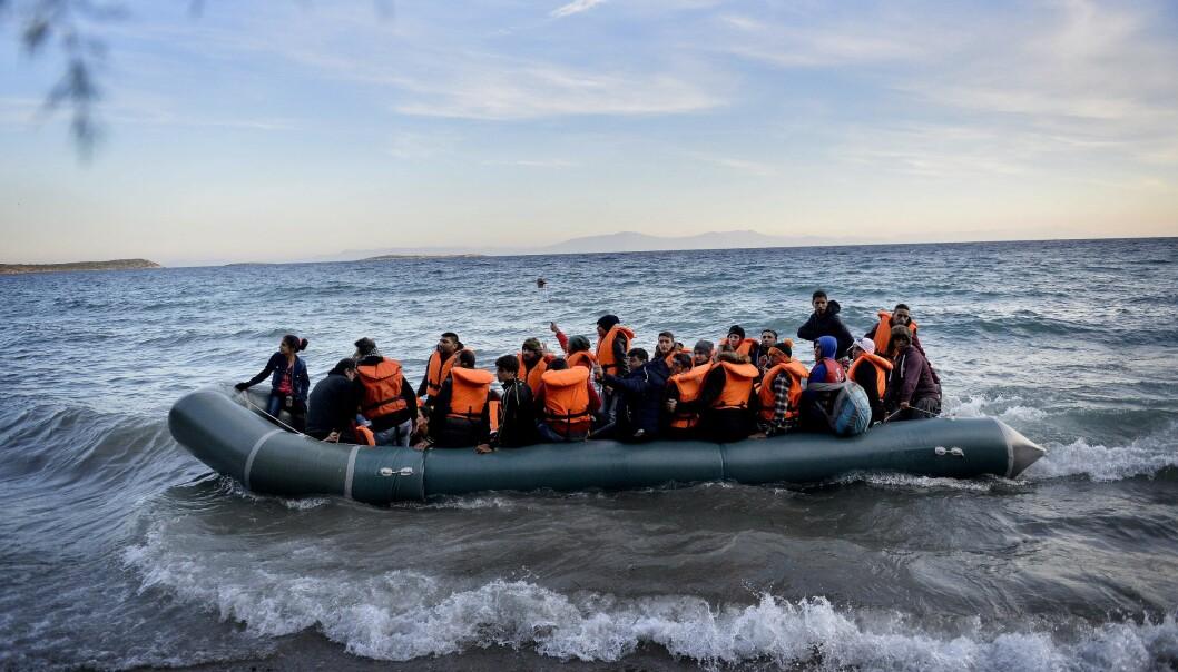 Flyktingar på väg mot grekiska Samos, 2015