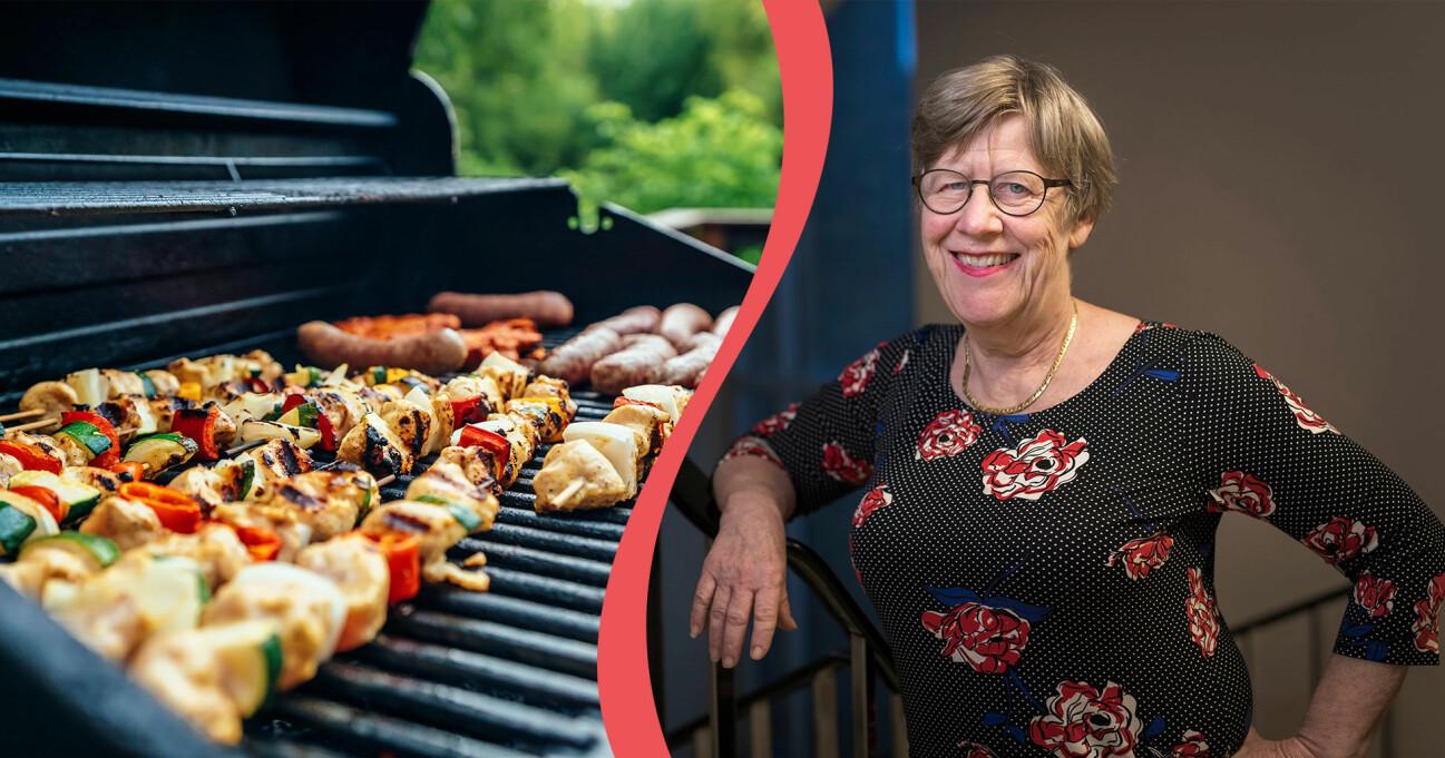 Delad bild. Till vänster: Grillen på sommaren. Till höger: Bakteriologen Agnes Wold.