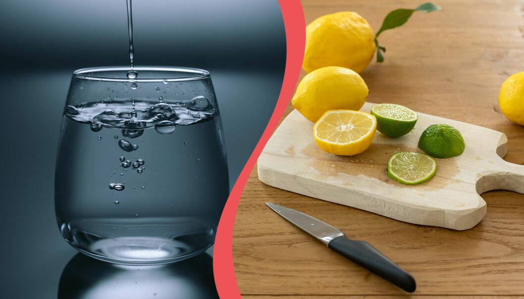 Delad bild. Till vänster: Ett glas vatten. Till höger: Citrusfrukter på en skärbräda