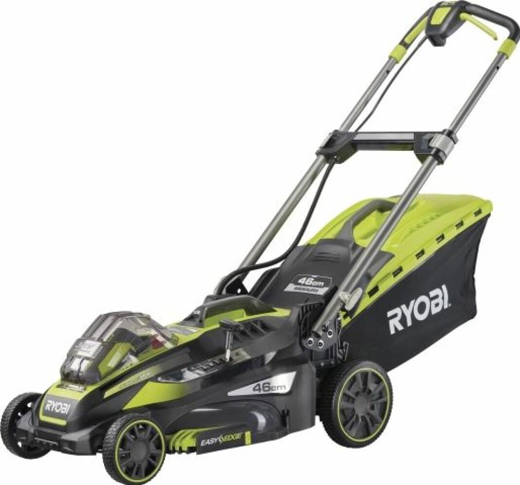 Grön och svart gräsklippare av modellen Ryobi RLM 36X46S240