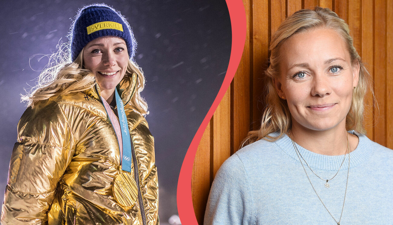 Frida Hansdotter med guldmedaljen runt halsen under OS 2018 i Pyeongchang och fotograferad inför tv-programmet Mästarnas mästare i SVT.