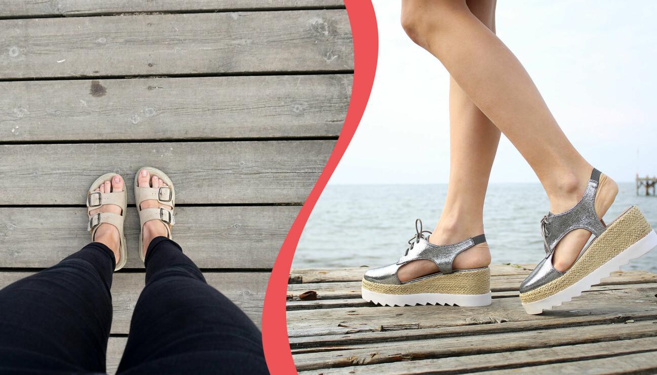 Två kvinnor på bryggor med sandaler