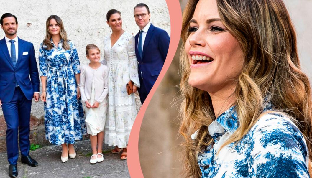 Prinsessan Sofia i sin blå klänning på Victoriadagen 2020