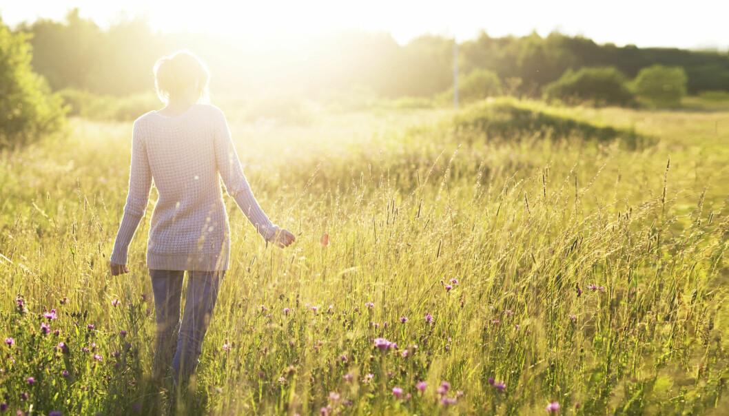 Kvinna på äng i solsken.