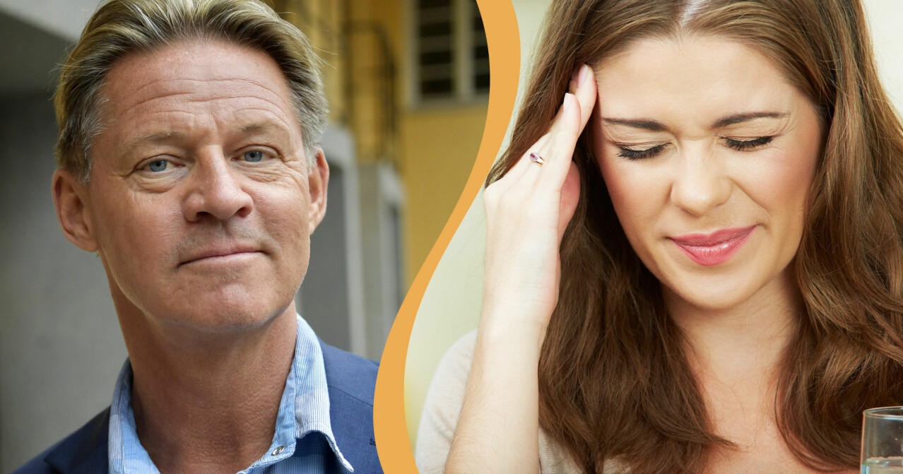 Delad bild med Mikael Sansdström och kvinna med huvudvärk.