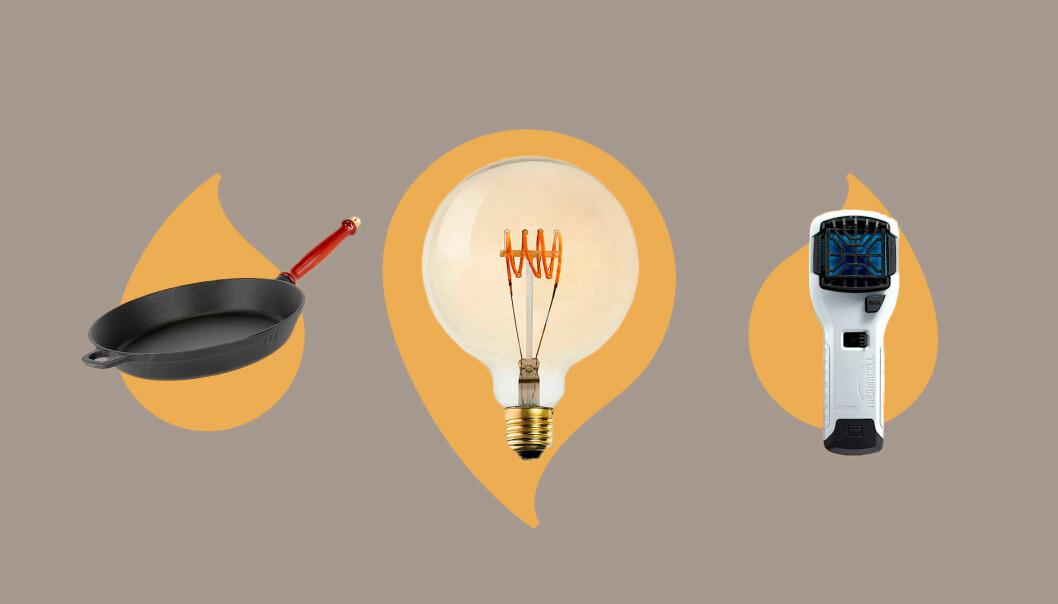 Stekpanna, Thermacell och glödlampa från Clas Ohlson